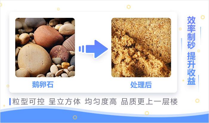 鹅卵石制成沙后的物料展示
